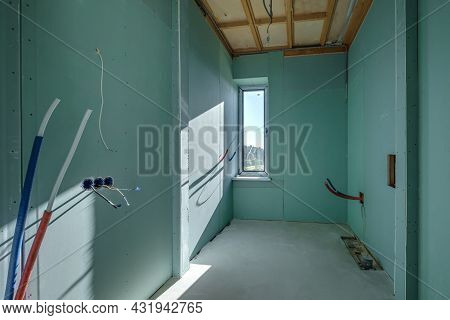 Empty White Green Drywall Room With Repair And Without Furniture