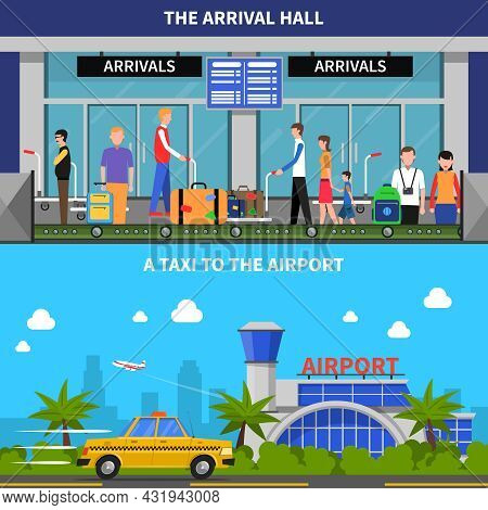 Traveling By Plane Horizontal Banners Set With Taxi And Arrival Hall Symbols Flat Isolated Vector Il