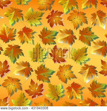 Vector Pattern From Autumn Leaves.bright Autumn Leaves On A Colored Background In A Seamless Vector