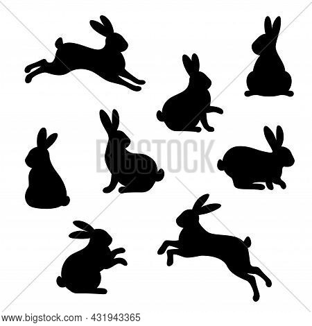 Rabbit Silhouette Black Icons Set Isolated On White Background. Vector Illustration. Hare Symbol For