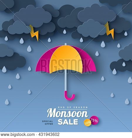 Opened Pink And Yellow Umbrella In Paper Cut Style. Vector Illustration. Overcast Sky, Thunder And L