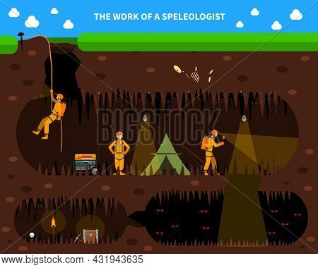 Speleologists Exploring Deep Cave With Stalagmites And Stalactites Flat Dark Background Banner With