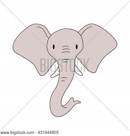 Cartoon Elephant Head Isolated. Colored Vector Illustration Of An Elephant Head With A Stroke On A W