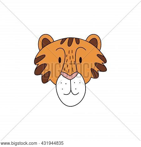Cartoon Tiger Head Isolated. Colored Vector Illustration Of A Tiger Head With A Stroke On A White Ba