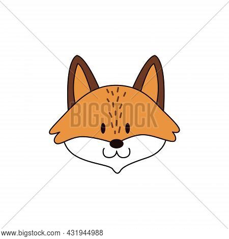 Cartoon Fox Head Isolated. Colored Vector Illustration Of A Fox Head With An Outline On A White Back