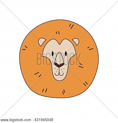 Cartoon Lion Head Isolated. Colored Vector Illustration Of A Lions Head With An Outline On A White B