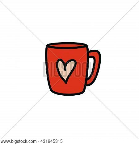 Cartoon Red Cup Outline. Hand-drawn Mug With Heart. Vector Stock Illustration Of Cute Red Mug Isolat