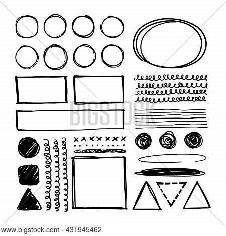 Hand-drawn Set Of Square And Round Frames. A Collection Of Graphic Shapes To Highlight. Simple Doodl