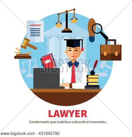Lawyer  Jurist Legal Expert Poster With Icons Of Professional Subjects On White Background Vector Il
