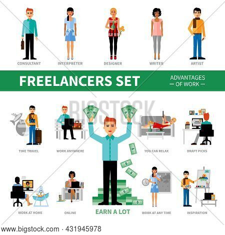 Freelancers Set With Advantages Of Work Including Icons Of Specialists Vector  Illustration