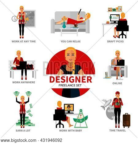 Freelance Designer Set With Different Advantages Of Work Isolated Vector Illustration
