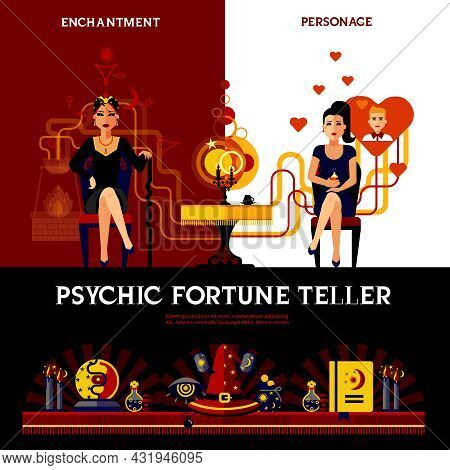 Psychic Fortune Teller Concept With Candles Book And Spell Isolated Vector Illustration