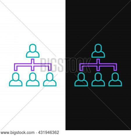 Line Business Hierarchy Organogram Chart Infographics Icon Isolated On White And Black Background. C