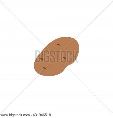 Cartoon Potatoes Isolated. Vector Stock Illustration Of Potato Tuber. Vegetable Against White Backgr