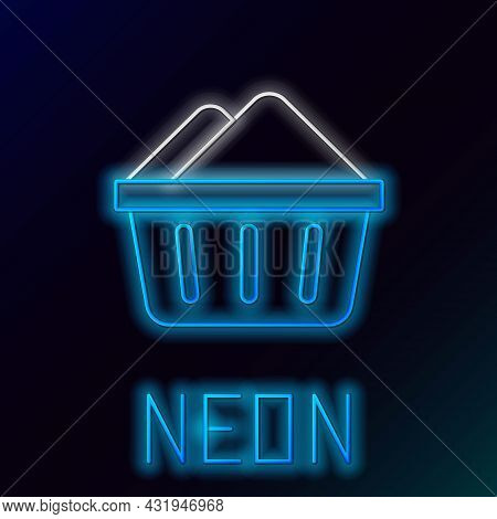 Glowing Neon Line Plastic Basin With Soap Suds Icon Isolated On Black Background. Bowl With Water. W