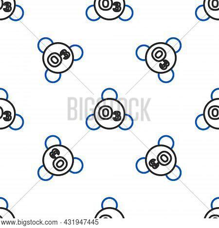 Line Ozone Molecule Icon Isolated Seamless Pattern On White Background. Ozone, O3, Trioxygen, Inorga