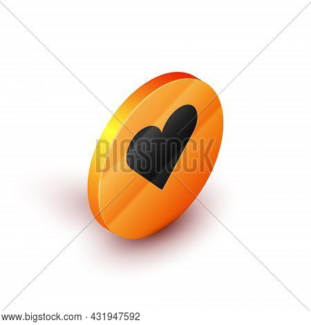 Isometric Heart Icon Isolated On White Background. Romantic Symbol Linked, Join, Passion And Wedding