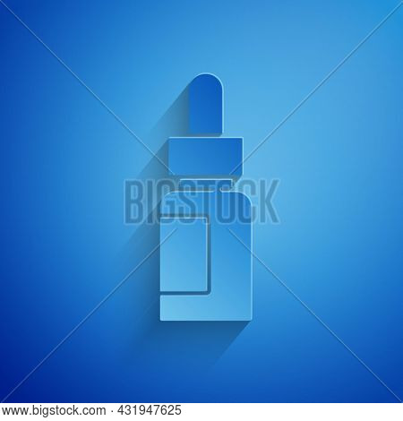 Paper Cut Essential Oil Bottle Icon Isolated On Blue Background. Organic Aromatherapy Essence. Skin