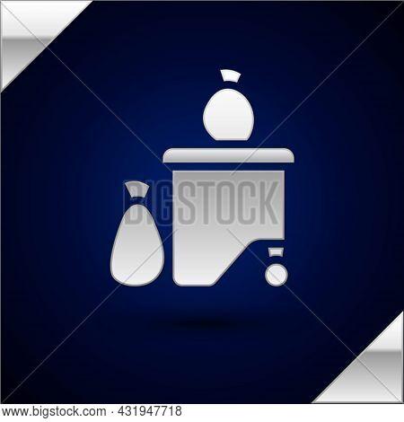 Silver Dumpsters Being Full With Garbage Icon Isolated On Dark Blue Background. Garbage Is Pile Lots