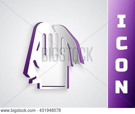 Paper Cut Cleaning Service Icon Isolated On Grey Background. Latex Hand Protection Sign. Housework C