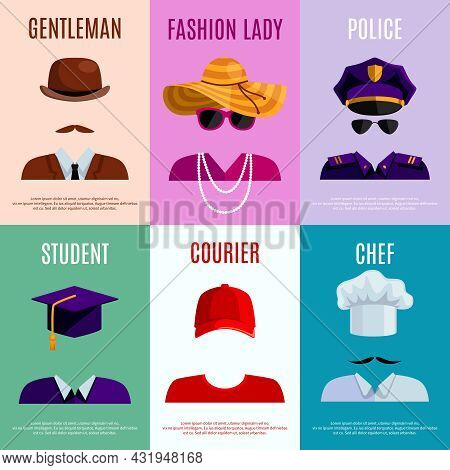 Flat Mini Posters Set Of Gentleman Lady Police Student Courier And Chef Hats And Accessories Vector