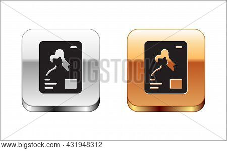 Black X-ray Shots Icon Isolated On White Background. Silver And Gold Square Buttons. Vector