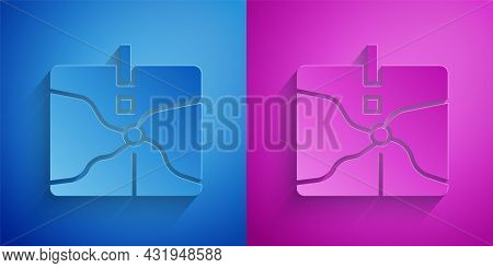 Paper Cut Intersection Point Icon Isolated On Blue And Purple Background. Paper Art Style. Vector