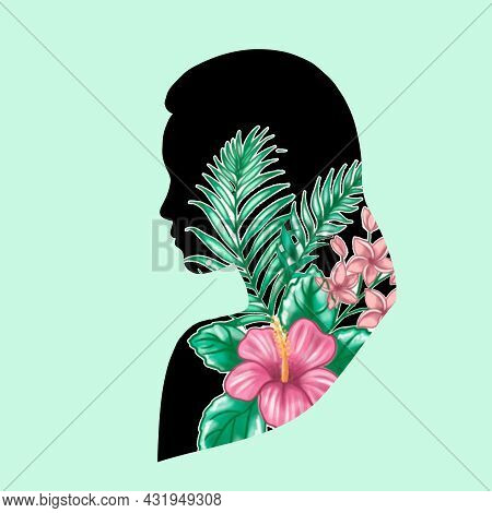 Profile Of A Woman With Tropical Floral Elements. Spring, Summer Woman Portrait. Vector Illustration