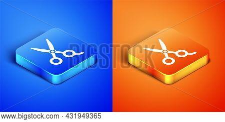 Isometric Scissors Hairdresser Icon Isolated On Blue And Orange Background. Hairdresser, Fashion Sal