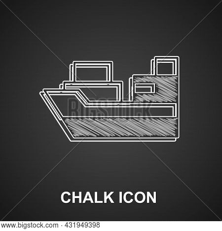 Chalk Cargo Ship With Boxes Delivery Service Icon Isolated On Black Background. Delivery, Transporta