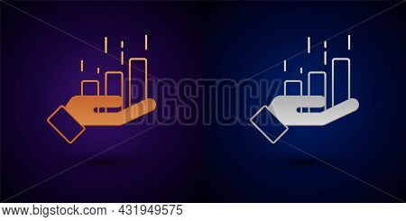 Gold And Silver Financial Growth Increase Icon Isolated On Black Background. Increasing Revenue. Vec