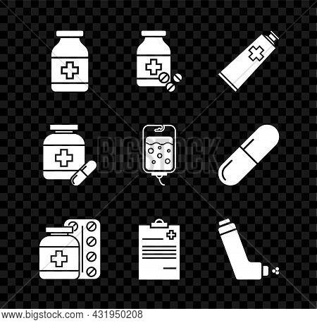 Set Medicine Bottle, And Pills, Ointment Cream Tube Medicine, Medical Clipboard With Clinical Record