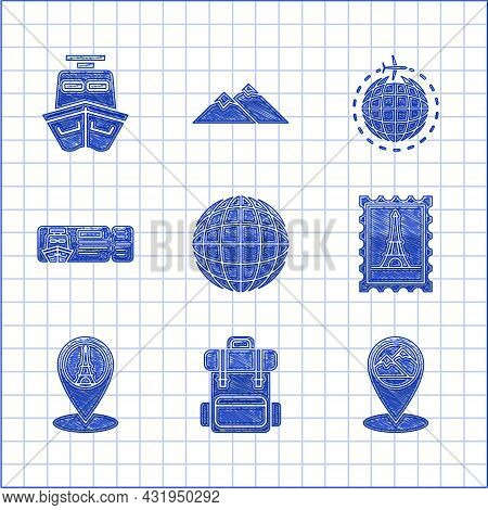Set Earth Globe, Hiking Backpack, Map Pointer With Mountain, Postal Stamp And Eiffel Tower, Cruise T
