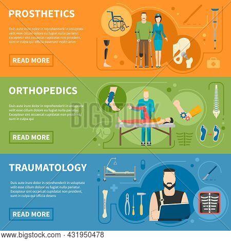 Traumas Medical Help Advertising Of Prosthetics Orthopedics And Traumatology Horizontal Banners Flat