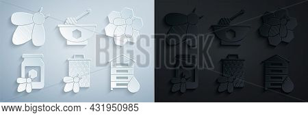 Set Bee And Honeycomb, Jar Of With Bee, Hive For Bees, Honey Dipper Stick Bowl And Icon. Vector