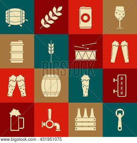 Set Bottle Opener, Glass Of Beer, Can, Cereals Set Rice, Wheat, Corn, Oats, Rye, Barley, Metal Keg,