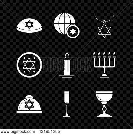 Set Jewish Kippah With Star Of David, World Globe And Israel, Star David Necklace On Chain, Goblet,