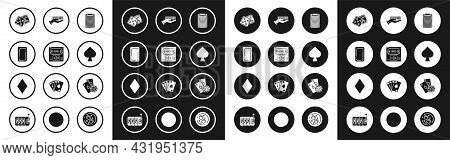 Set Casino Chips, Online Poker Table Game, Playing Card Back, Game Dice, With Spades Symbol, Hand Ho