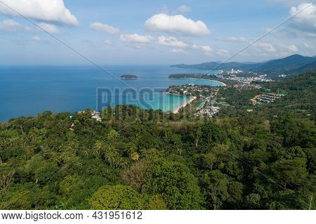 Aerial View Drone Shot Of Beautiful Landscape 3 Bays View Point At Kata,karon Beach Viewpoint In Phu