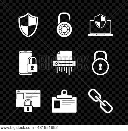 Set Shield, Laptop Protected With Shield, Secure Your Site Https, Ssl, Identification Badge, Chain L