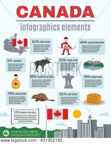 Canada Infographics Elements With Statistics Related To National Symbols Of Country Vector Illustrat