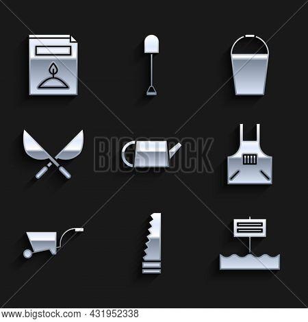 Set Watering Can, Garden Saw, Blank Wooden Sign Board, Kitchen Apron, Wheelbarrow, Gardening Handmad