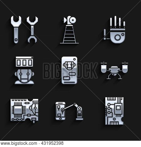 Set Bot, Electronic Computer Components Motherboard Digital Chip, Drone Flying With Action Camera, P