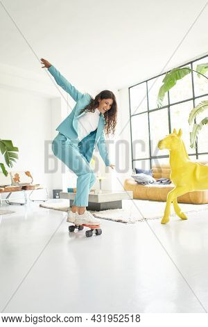 Vertical Photo.vertical Photo Of Business Woman Riding Skateboard Dressed In Office Worker Outfit At