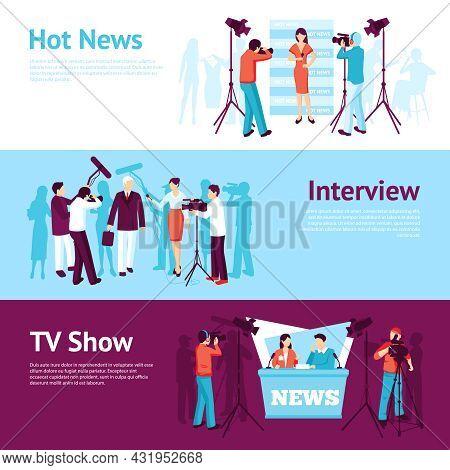 Journalist News Pressman Banner Set With Interview Tv Show Operator Vector Illustration