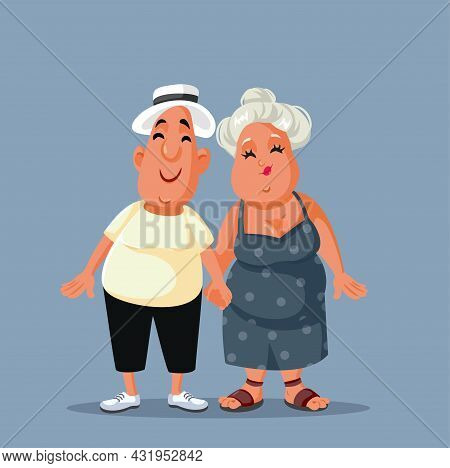 Middle Aged Couple Holding Hands Vector Cartoon