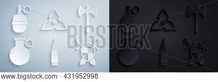 Set Bullet, Medieval Axe, Hand Grenade, Shield With Crossed Swords, Japanese Ninja Shuriken And Icon