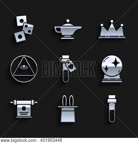 Set Bottle With Love Potion, Magician Hat And Rabbit Ears, Ball, Scroll, Masons, Crown And Game Dice