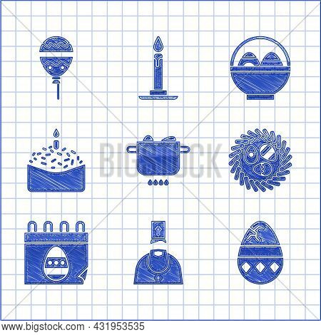 Set Egg In Hot Pot, Priest, Cracked Egg, Easter Wicker Nest, Calendar With, Cake And Candle, Basket
