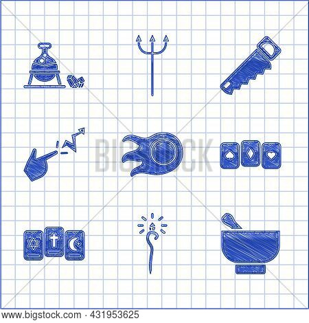 Set Fireball, Magic Staff, Mortar And Pestle, Playing Cards, Three Tarot, Spell, Hand Saw And Witch